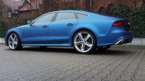 Fahrzeugfolierung, Audi, A7, Matt, Blau, Blitz, Folientechnik, Autofolierung